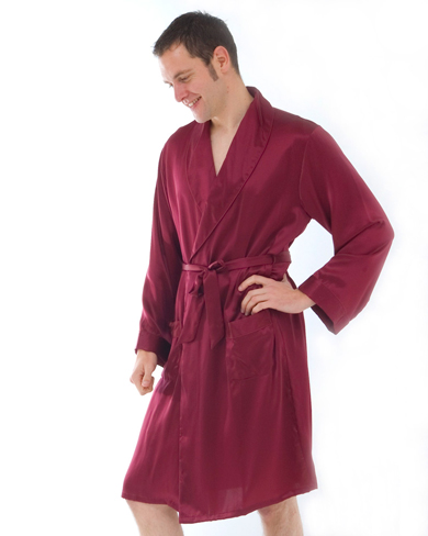 Short Silk Dressing Gown