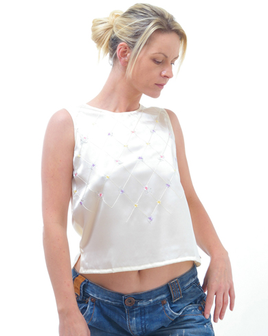 Sleeveless Silk Top with Embroidery