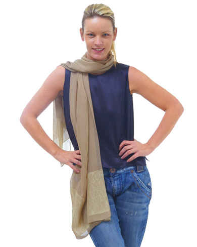 Long Silk Scarf with Contrasting Border
