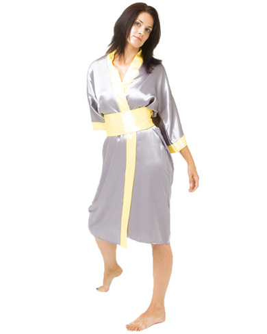 Satin Kimono with Free Matching Bag