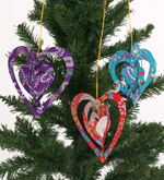 Set of 3 Handmade Heart Decorations